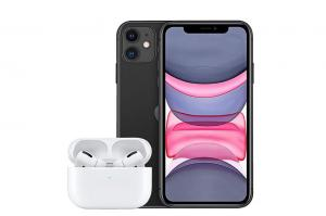 iPhone 11   64GB   Black & Apple Airpods Pro with Wireless Charging Case Bundle