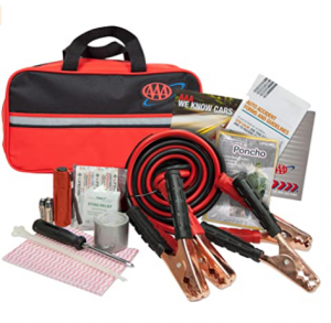 Lifeline AAA Premium Road Kit, 42 Piece Emergency Car Kit with Jumper Cables, Flashlight and First A