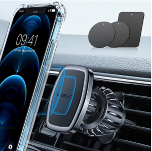 LISEN Car Phone Holder Mount, [Upgraded Clip] Magnetic Phone Car Mount [6 Strong Magnets] Cell Phone