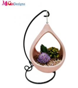 New Design Blue Ceramic Hanging Plant Planter Pot Artificial Flower Pot Home Garden Decoration Whole