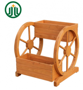 Outdoor Wooden Garden Planter With Two Wheels