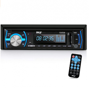 Pyle Marine Bluetooth Stereo Radio - 12v Single DIN Style Boat In dash Radio Receiver System with Bu