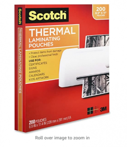 Scotch Thermal Laminating Pouches, 200-Pack, 8.9 x 11.4 Inches, Letter Size Sheets, Clear, 3-Mil (TP