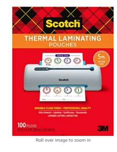 Scotch Thermal Laminating Pouches, 5 Mil Thick for Extra Protection, 100-Pack, 8.9 x 11.4 inches, Le