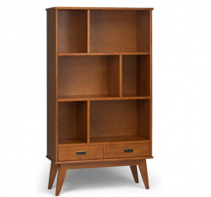 Simpli Home 3AXCDRP-13-TK Draper Solid Hardwood 64 inch x 35 inch Mid Century Modern Wide Bookcase a
