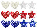 12PCS 4th of July Star Heart Shaped Natural Rattan Balls Decoration, 2.36 Inch Red White and Blue St