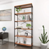 BATHWA Tall Bookshelf Mordern Wood Metal Open Industrial Book Shelves Bookcase Shelving Unit Storage