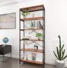 BATHWA Tall Bookshelf Mordern Wood Metal Open Industrial Book Shelves Bookcase Shelving Unit Storage