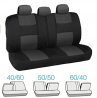 BDK PolyPro Car Seat Covers, Full Set in Charcoal on Black – Front and Rear Split Bench Protection