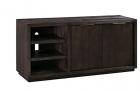 Benjara 64 Inches Grained 2 Door Media Console with Adjustable Shelf, Brown