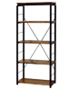 Benjara Industrial Bookshelf with 4 Shelves and Open Metal Frame, Brown and Black