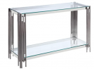 Benjara Tempered Glass Top Sofa Table with 1 Open Shelf, Chrome