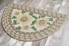 Brumlow Mills Sunflower Braid Printed Pattern Rustic Floral Area Rug for Kitchen, Entryway, Bathroom