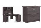 Bush Furniture Cabot L Shaped Desk with Hutch in Heather Gray & Furniture Cabot 2 Drawer Lateral Fil