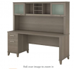 Bush Furniture Somerset Office Desk with Drawers and Hutch, 72W, Ash Gray
