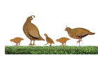 California Home and Garden CH351Z Metal Rustic Family California Quails Silhouettes, Brownish Red