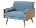 Christopher Knight Home 305749 Greta Mid Century Modern Fabric Club Chair, Blue, Dark Walnut