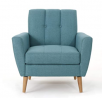 Christopher Knight Home Treston Mid-Century Modern Fabric Club Chair, Blue / Natural