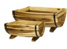 Classic Home and Garden 160015 Half Barrel Set of 2 Planters, 1 Pack, Acacia