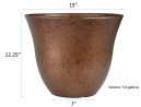 Classic Home and Garden Honeysuckle Patio Pot Garden Planter, 15 Inch, Distressed Copper
