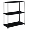 Convenience Concepts Designs2Go Classic Glass 3-Shelf Bookcase, Black
