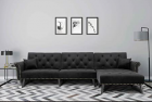 COODENKEY Modern Velvet Sectional Couch Convertible L-Shape Sofa Bed Sleeper Reversible Chaise with