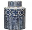Creative Co-Op Decorative Stoneware Ginger Pattern, Blue & Cream Color Jar