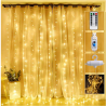 Curtain Lights 300 Led Window Curtain String Light with 8 Modes Remote Control Curtain Fairy Lights