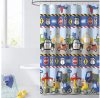 dream FACTORY Kids Fabric Shower Curtain for Bathroom, 72W x 72L, Blue Red Trains and Trucks