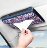 eing Car Tissue Box Holder- PU Leather Bling Crystal Van Truck Vehicle Napkin Cover for Backseat and