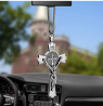 EING Metal And Crystal Diamond Cross Jesus Christian Car Rear View Mirror Pendant Hanging Car Stylin
