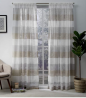 Exclusive Home Curtains EH7952-06 2-84R Bern Striped Sheer Rod Pocket Panel Pair, 54x84, Cafe, 2 Pie