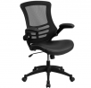 Flash Furniture Desk Chair with Wheels | Swivel Chair with Mid-Back Black Mesh and LeatherSoft Seat