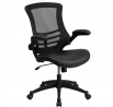 Flash Furniture Desk Chair with Wheels   Swivel Chair with Mid-Back Black Mesh and LeatherSoft Seat