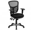 Flash Furniture Mid-Back Black Mesh Multifunction Executive Swivel Ergonomic Office Chair with Adjus