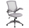 Flash Furniture Mid-Back Gray Mesh Swivel Ergonomic Task Office Chair with Gray Frame and Flip-Up Ar