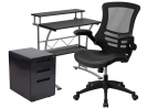 Flash Furniture Work From Home Kit - Black Computer Desk, Ergonomic Mesh/LeatherSoft Office Chair an