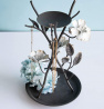 Foreside Home and Garden Distressed White Flower Metal Jewelry Trinket Holder, FDFC08515