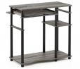 Furinno Abbott Computer Desk with Bookshelf, French Oak Grey/Black