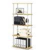 FURINNO Turn-N-Tube 5-Tier Multipurpose Shelf Display Rack, Single, Beech/White