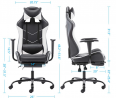 Gaming Chair PU Leather Racing Chair with Footrest, High Back Recliner Swivel Office Chair Headrest