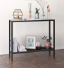 Henn&Hart Industrial Metal Perforated Mesh Shelf Console table, 1, Black