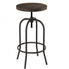 Home Lavish Swivel Adjustable Backless Bar or Counter Height Kitchen Stool-Metal with Elm Wood Seat-