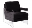 Iconic Home Logan Modern Contemporary Acrylic Frame Upholstered Arm Velvet Accent Chair, Black