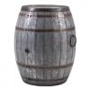 IMAX Vineyard Wine Barrel Storage Table – Vintage Inspired Iron Barrel, Rustic Metal Accent Table,