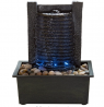 Indoor Water Fountain With LED Lights- Lighted Waterfall Tabletop Fountain With Stone Wall and Sooth