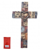 Inspirational Resin Wall Cross with Heart on Woodlooking Bricks Christian Words and Sayings Home Dec