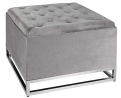 Inspire Me! Home Décor Caroline Ottoman with Inset Faux Marble Coffee Table Lid, Classy Pewter Grey