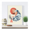 Japanese Sun Cat Art Print - Japanese Anime Unframed Wall Art 18 x 24 Great Ocean Wave Wall Hanging