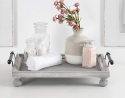 Kate and Laurel Bruillet Farmhouse Rectangular Tray, 12 x 16, Rustic Gray, Vintage Tray for Coffee T